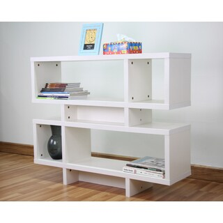 White Finished 44-inch Wide Wooden Leaning Shelf