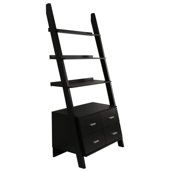 Black Finished Leaning Ladder Bookshelf With Drawers