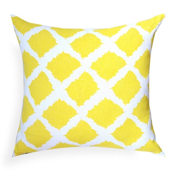 "Sunflower Yellow Print Pillow, 100% cotton, 20""x20"" Decorative Throw Pillow"