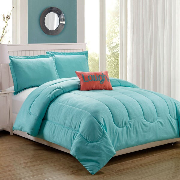 Babylon Aqua Embossed 4-Piece Comforter Set