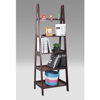 Cherry Finished Leaning Ladder Bookshelf With Drawers
