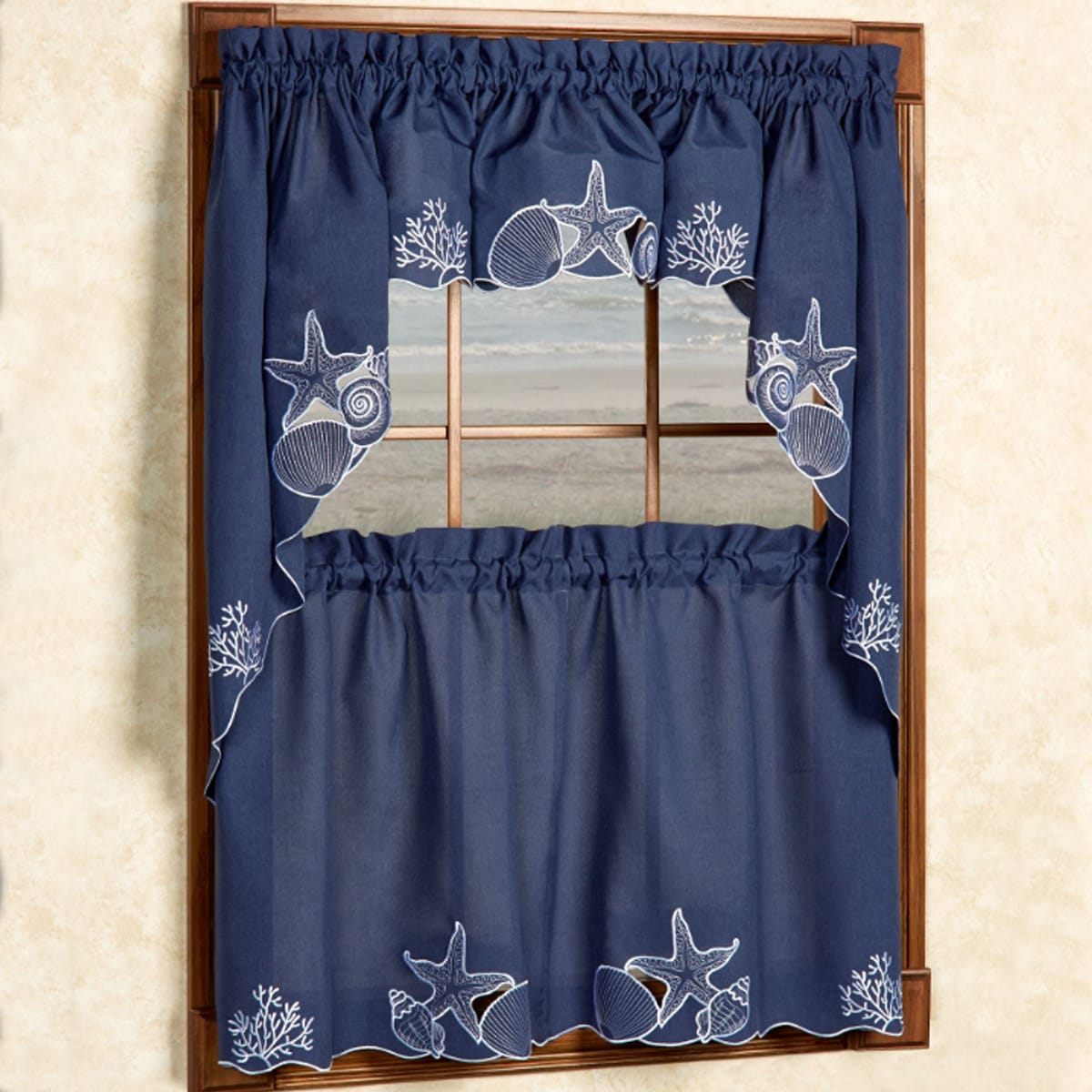 Embroidered Shells Coral and Sea Life Window Curtain Piec...