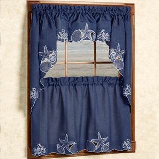 Embroidered Shells Coral and Sea Life Window Curtain Pieces- Tiers, Valance and Swag Pair Options