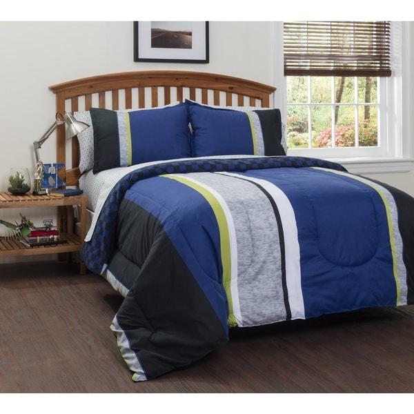 American Original Logan Stripe 7-piece Bed in a Bag with Sheet Set