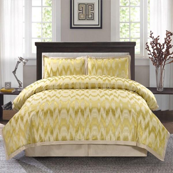 Tallilah Gold Color Jacquard 4-piece Comforter Set