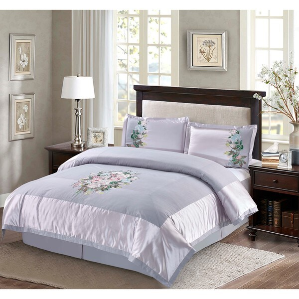 Adelia Embroidered Floral 4-piece Comforter Set