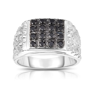 Noray Designs Men's 14K White Gold 0.53ct TDW Black Diamond Ring (I1-I2, Black)