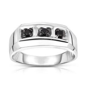 Noray Designs 14k White Gold 1/16ct TDW Black Diamond Men's 3-Stone Ring (I1-I2 Clarity, Black)