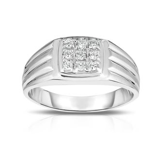 Noray Designs 14K Gold 1/4ct TDW Diamond Men's 9-Stone Ring (I1-I2 Clarity, G-H Color)