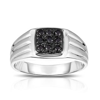 Noray Designs Men's 14K White Gold 1/4ct TDW Diamond 9-Stone Ring (I1-I2, Black)