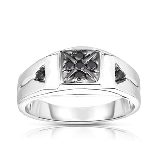 Noray Designs Men's 14K White Gold 0.14ct TDW Black Diamond 7-Stone Ring (I1-I2, Black)