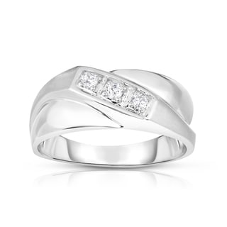 Noray Designs 14k Gold 1/6ct TDW Diamond Men's 3-Stone (I1-I2 Clarity, G-H Color) Ring