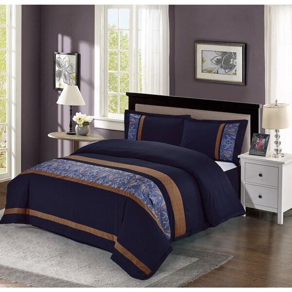 Cruz Embroidered Cotton 4-piece Comforter Set