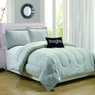 Babylon Silver Embossed 4-Piece Comforter Set