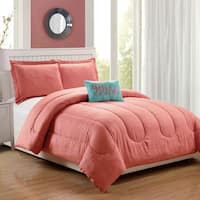 Babylon Coral Embossed 4-Piece Comforter Set
