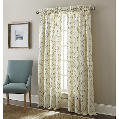 Sherry Kline Hampton Embroidered Rod Pocket 63-inch Curtain Panel Pair - 52 x 63