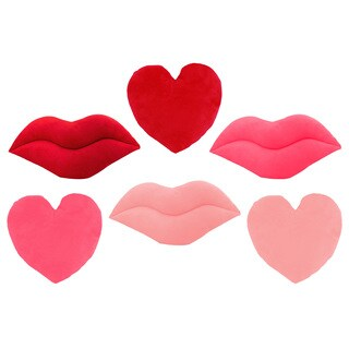 Red and Pink Emoji Lips and Hearts Throw Pillows