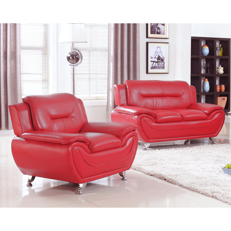 2pc Contemporary Modern Pu Leather Sofa