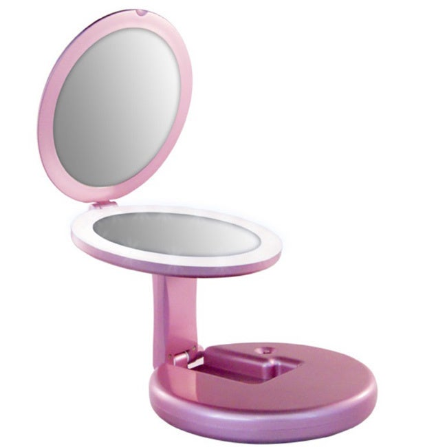 Rucci M958 5x LED Lighted and Foldable Pink Travel Mirror...