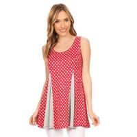 Women's Red/White Polka Dot Sleeveless Tunic
