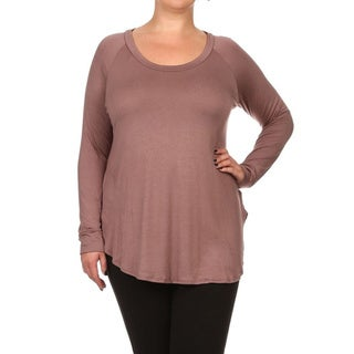 Women's Solid Rayon and Spandex Plus-size Tunic