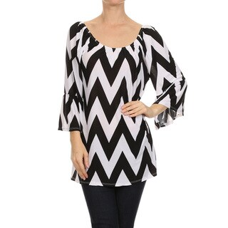 Women's Black and White Chevron Tunic