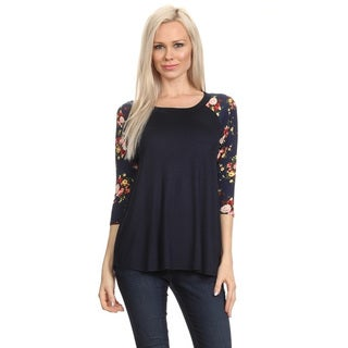 Women's Black Floral Pattern Rayon Blend Sleeve Tunic