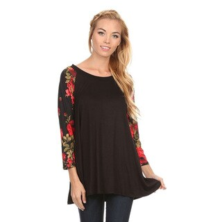 Women's Floral Pattern Sleeve Tunic