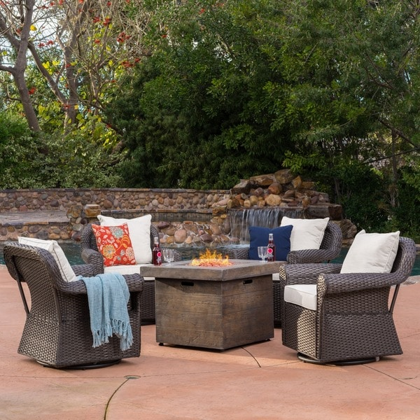 Shop Arlington Outdoor 5 Piece Gas Firepit Seating Set By