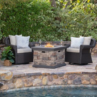 Ariel Outdoor 3-piece Gas Firepit Seating Set by Christopher Knight Home