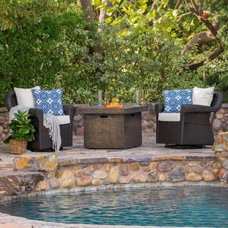 Arlington Outdoor 3-piece Gas Firepit Seating Set by Christopher Knight Home