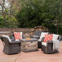 Ariel Outdoor 5-piece Gas Firepit Seating Set by Christopher Knight Home