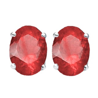 Elora Sterling Silver 1 ct. Oval Cut Ruby Ladies Solitaire Stud Earrings (Red & Highly Included)