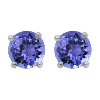 Elora Sterling Silver 1 ct. Round Cut Tanzanite Ladies Solitaire Stud Earrings (Blue & Moderately Included)