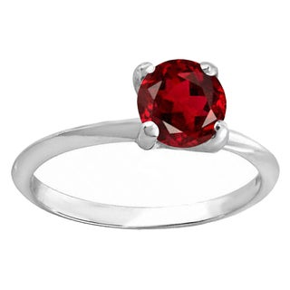 Elora Sterling Silver 1 ct. Round Cut Garnet Ladies Solitaire Bridal Engagement Ring (Red & Moderately Included)