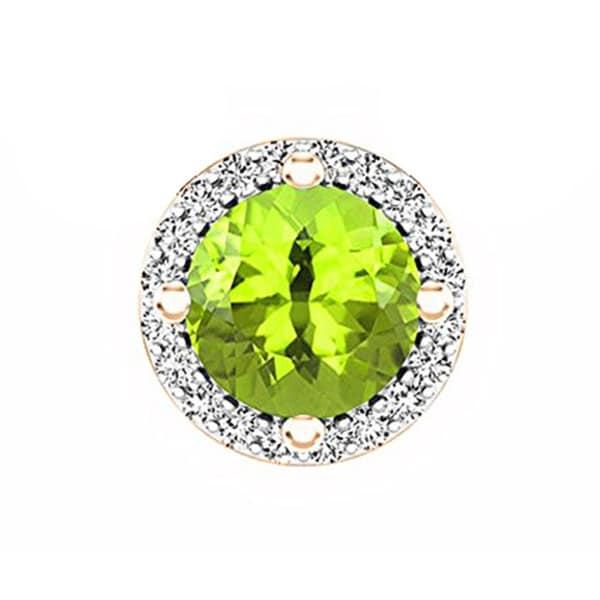 3 Ct Round Cut Green Peridot White CZ Halo Pendant Charm Women Jewelry no Chain