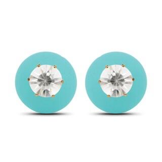 Liliana Bella Gold-plated Aqua White Crystal Peekaboo Earrings