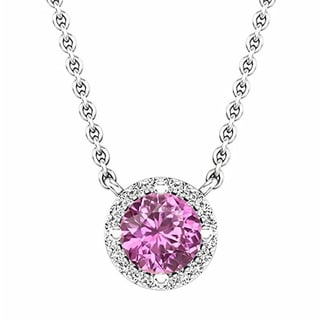 Elora 14k Gold 7/8 ct. Round Cut Pink Sapphire & White Diamond Ladies Halo Pendant (Silver Chain Included) (Pink & I-J, I2-I3)