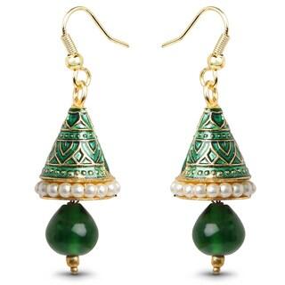 LIliana Bella Goldplated Faux Pearl and Green Enamel Jhumki Dangle Earrings