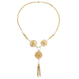 Liliana Bella Women's Goldplated Tassel Necklace with White Stone