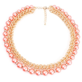 Liliana Bella Gold-plated Choker Necklace with Pink Pearl