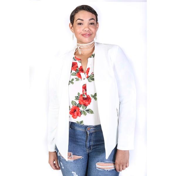 847bb58da5 Shop Hadari Women s Plus Size Casual Lightweight Blazer Jacket ...