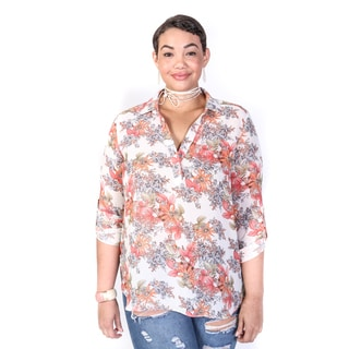 Hadari Women's Plus SIze V-Neck Collared Floral Top