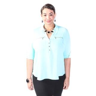 Hadari Women's Plus Size Casual Frontal Zipper Blouse