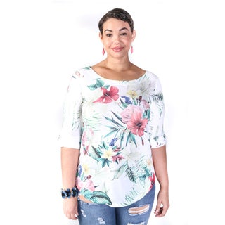 Hadari Women's Plus Size Casual Floral Print Blouse Top