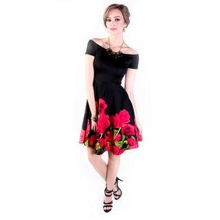 Hadari Women's Off Shoulder Flower Print Dress