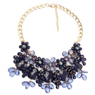 Liliana Bella Goldplated Blue Floral Style Handmade Bib Necklace