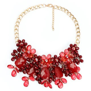 Liliana Bella Goldplated Maroon Floral Style Handmade Bib Necklace