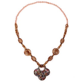 Liliana Bella Handmade Brown Beaded Floral Fashion Necklace - Black