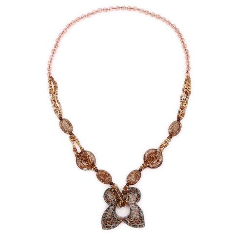 Liliana Bella Women's Handmade Brown Beaded Butterfly-shape Fashion Necklace